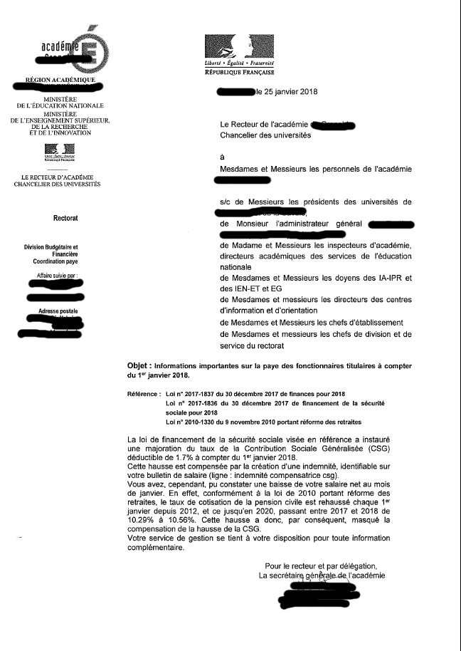 Information paye - Janvier 2018