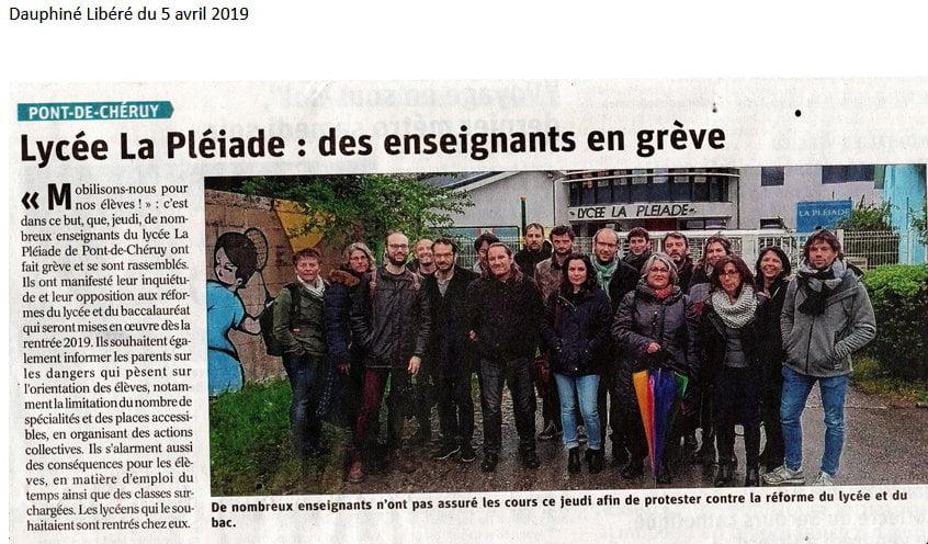 Grève au Lycée La Pléiade à Pont de Cheruy