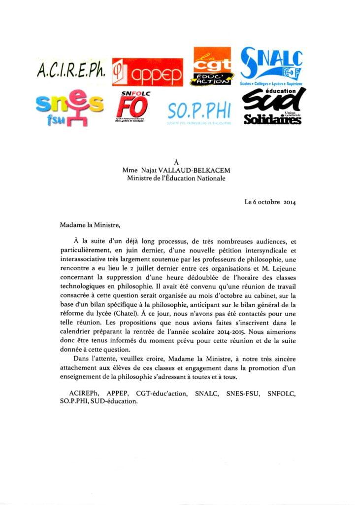 lettre intersyndicale et interassociative du 6/10/14
